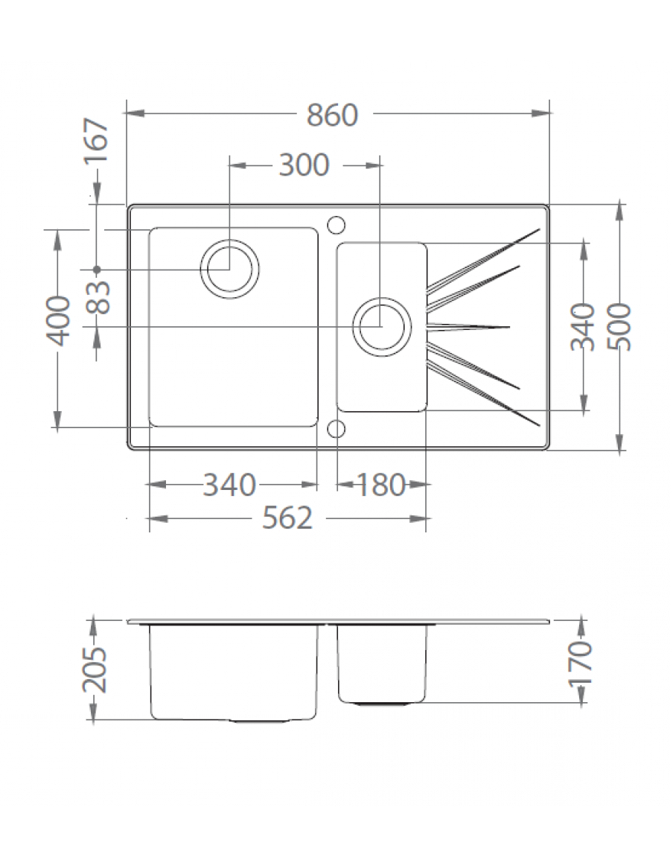 Alveus Karat 20, inset sink, glass/ stainless steel, dimensions