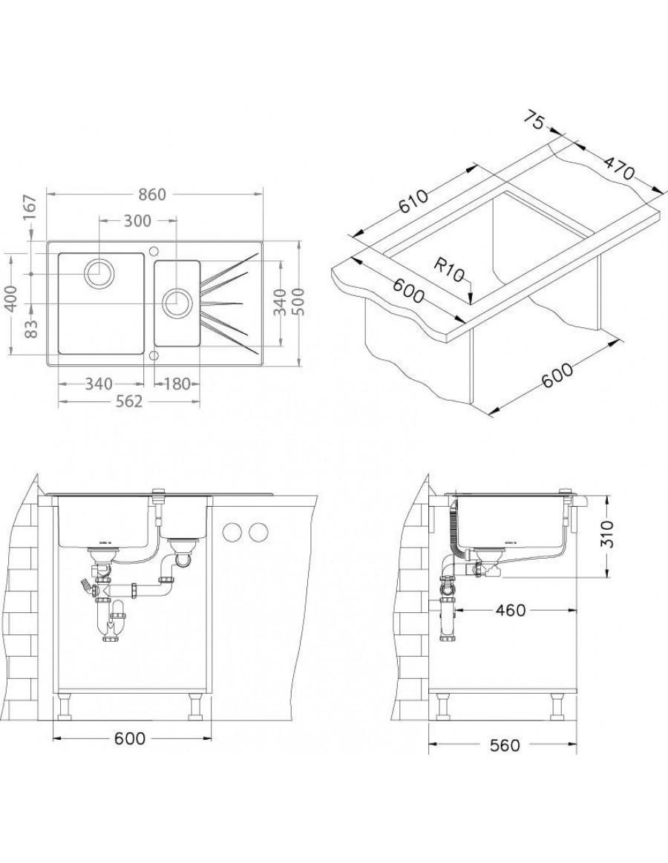 Alveus Karat 20, inset sink, glass/ stainless steel, installation sketch