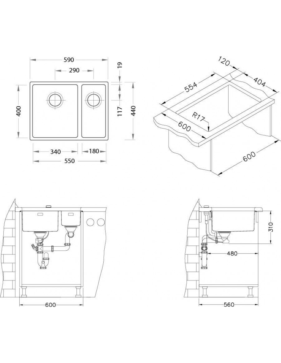 Alveus Kombino 120 under-mount sink, installation sketch