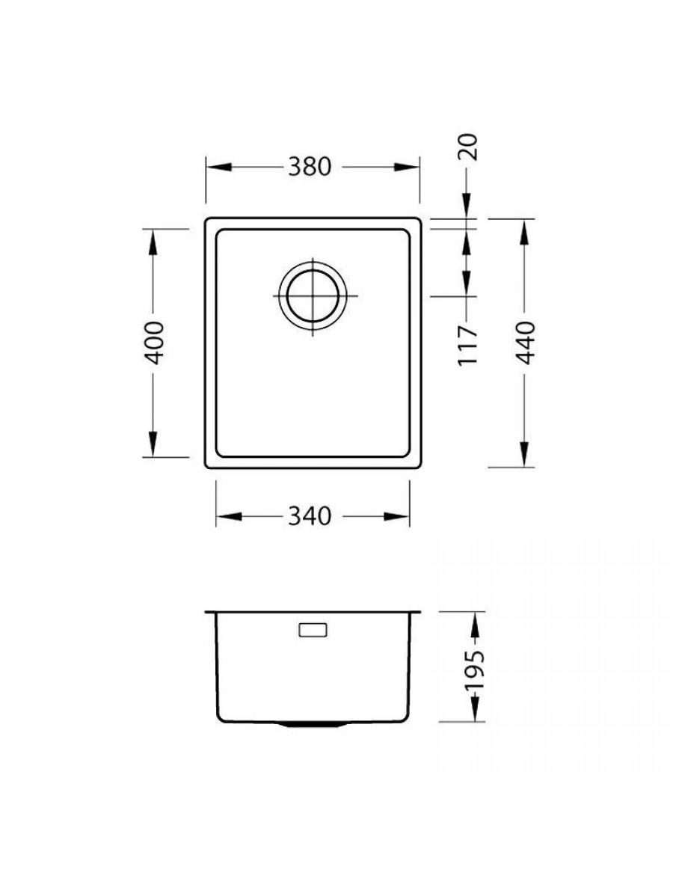 Alveus Kombino 20 undermount sink, dimensions