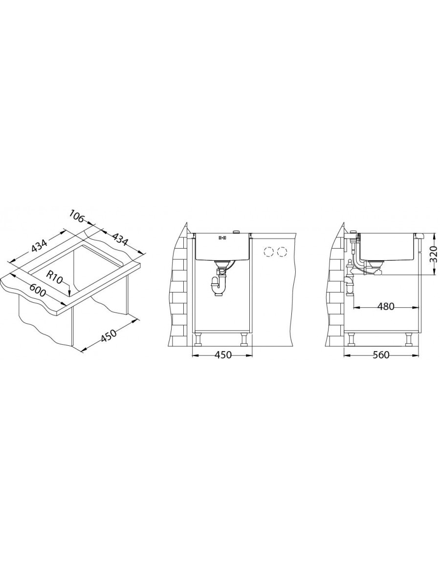 Alveus Monarch Quadrix 30, flush or flat mount sink installation sketch