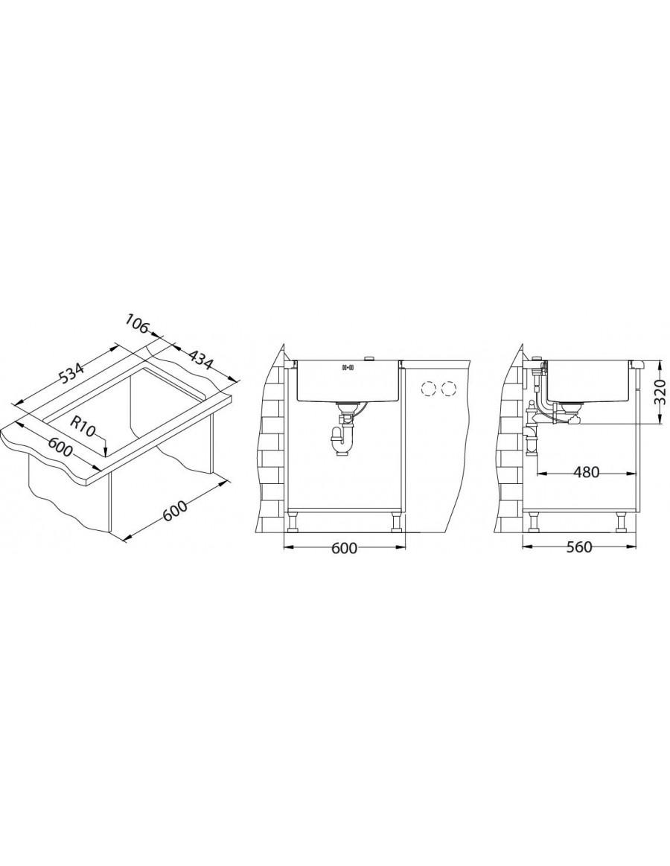 Alveus kitchen sink Monarch Quadrix 50, flush or flat mount installation sketch