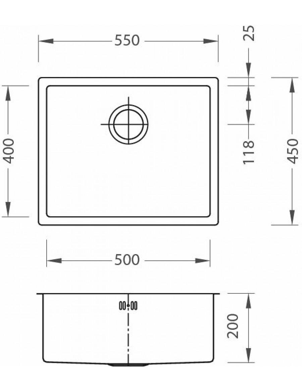 Alveus Monarch sink Quadrix 50, flush or flat mount sink dimensions