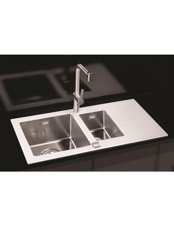 Alveus Karat 20, inset sink, glass/ stainless steel