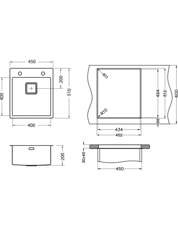 Alveus Stylux 10, flush or flat-mount sink dimensions