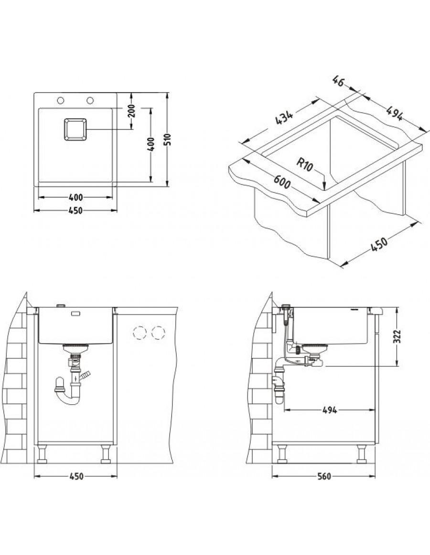 Alveus Stylux 10, flush or flat-mount sink installation sketch