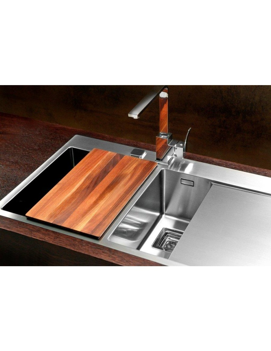 Alveus Stylux 60, flush or flat-mount sink with wooden chopping board