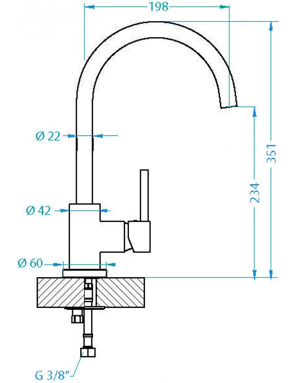 Alveus Lago kitchen mixer tap, dimensions