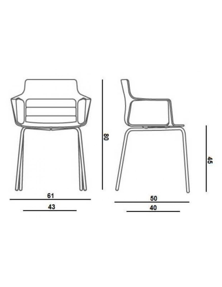 Kelly chair by Quinti Sedute measurements