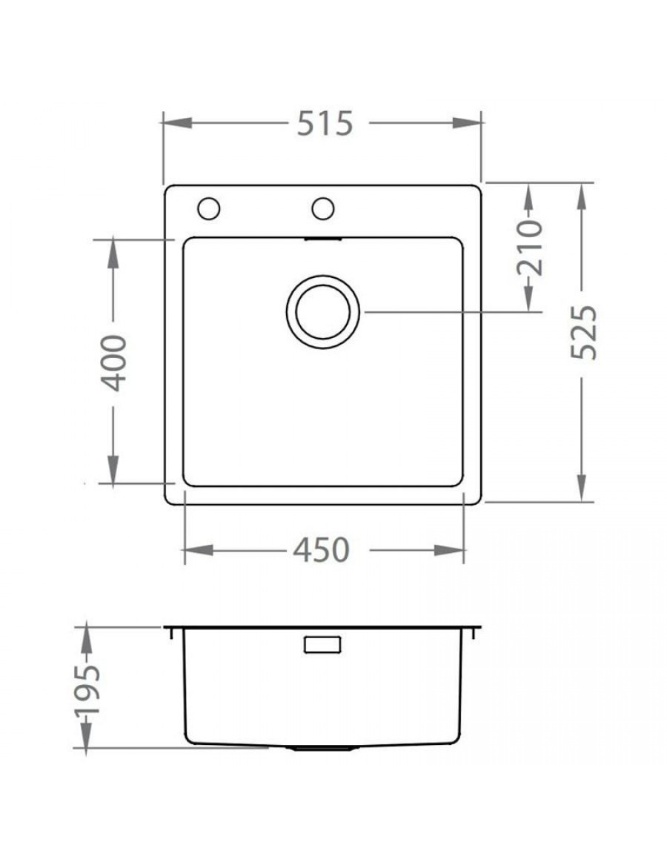 ALVEUS Pure 30 flush or flat-mount sink dimensions