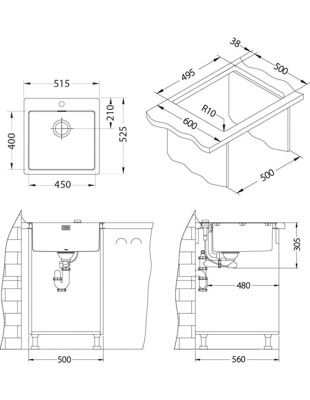 ALVEUS Pure 30 flush or flat-mount sink installation sketch