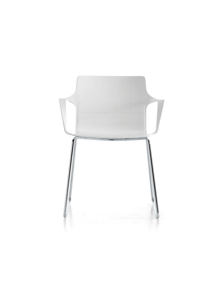 Kelly chair | White shell, chromed base