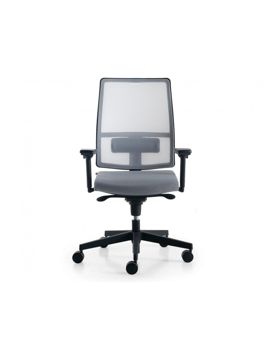 Sugar Net operative office chair by Quinti Sedute | White mesh, upholstered woolen seat