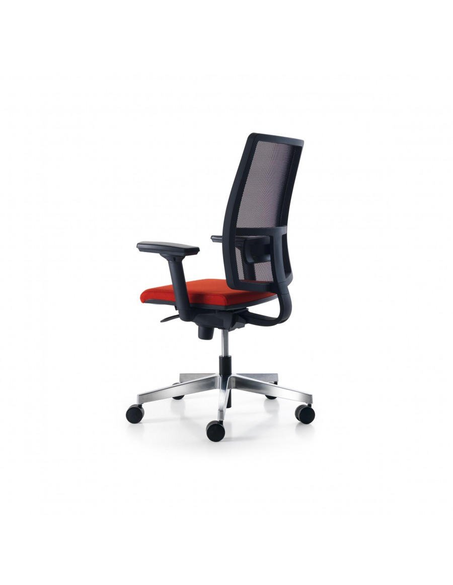 Sugar Net operative office chair by Quinti Sedute | Black mesh, upholstered woolen seat