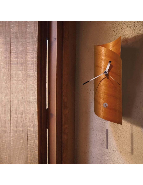 Surf wall clock with pendulum, cedar