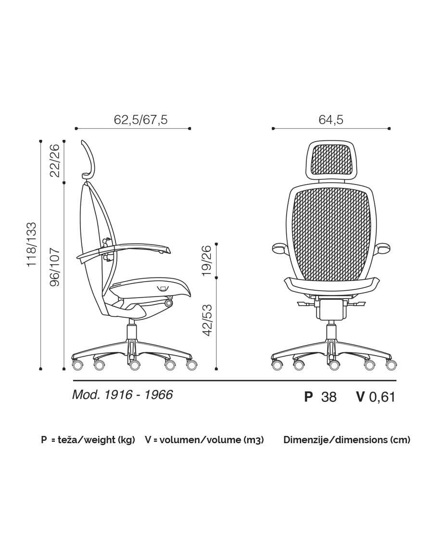 Xten executive chair dimensions