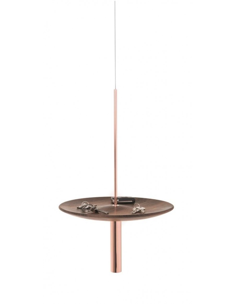Circulum wave - ceiling application, solid wood walnut, copper plated