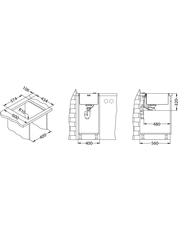 Alveus Monarch Quadrix 20 kuhinjsko korito - vgradna skica