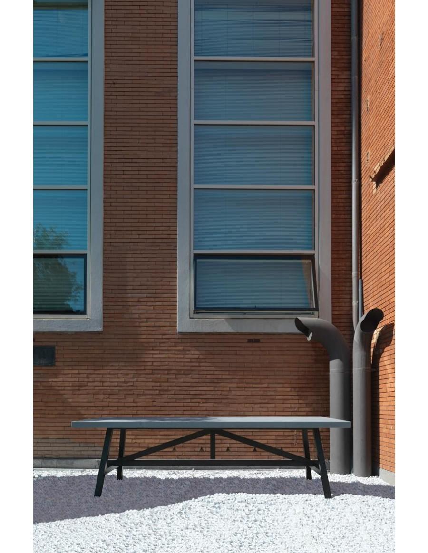 Achille masivna lesena miza - črno luženo podnožje, marmornata plošča