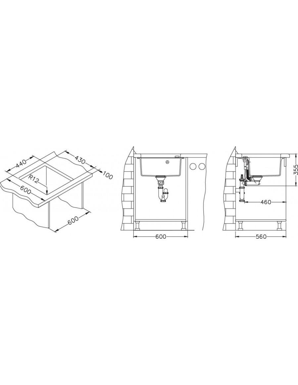 Alveus Formic 20 Granital Plus - pod-pultno korito - vgradna skica