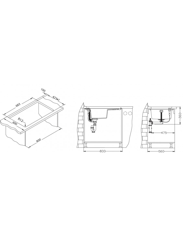 Alveus Formic 30 Granital Plus - podpultna - vgradna izvedba installation