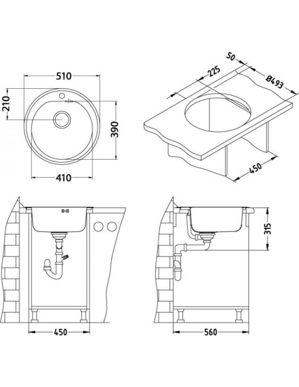 Alveus inset kuhinjsko korito Form 30 installation sketch