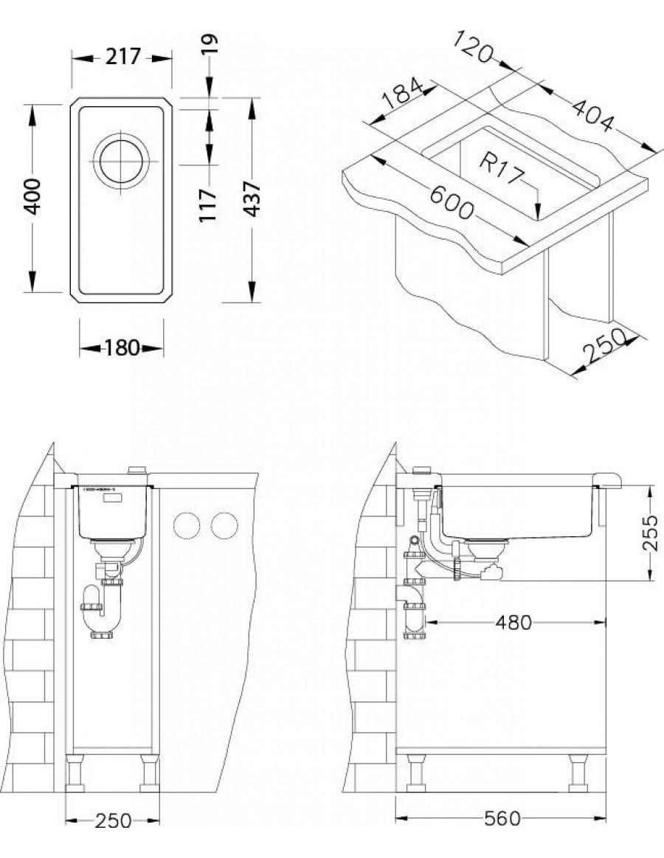 Alveus Kombino 10 pod-vgradno korito, vgradna skica