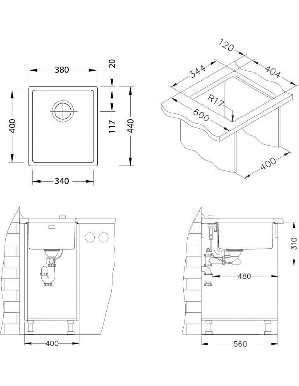 Alveus Kombino 20 podpultno korito, vgradna skica