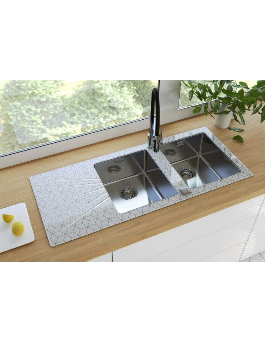 Alveus Karat 30, inset sink, glass/ stainless steel custom graphic