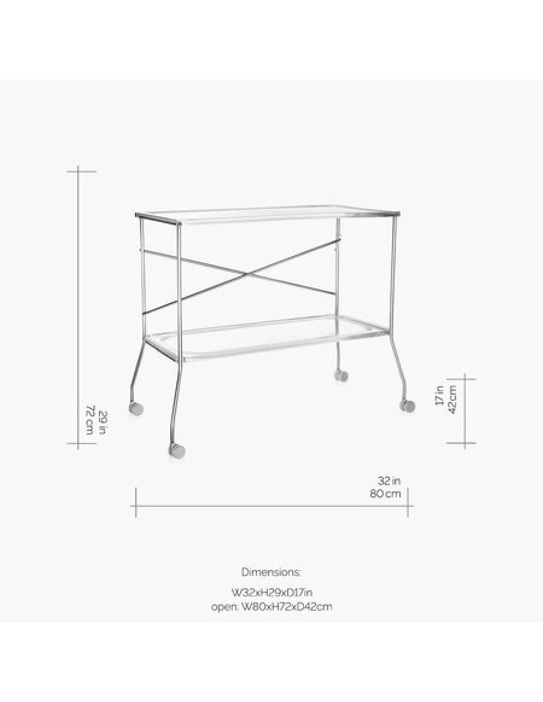 Kartell zložljiv servirni voziček, transparenten
