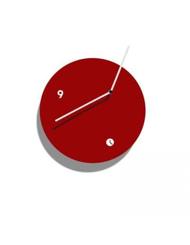 stenska ura, lakirana rdeče