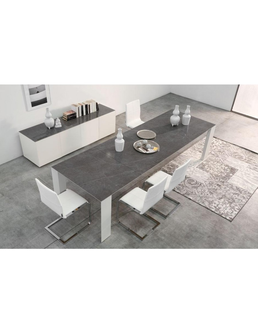 Icon 300x100 h.73, Marble Calacatta top, Oak legs