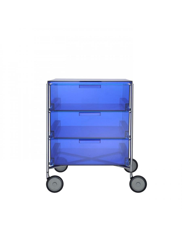 Kartell Mobil 3 predalnik na kolesih, kobaltno modra