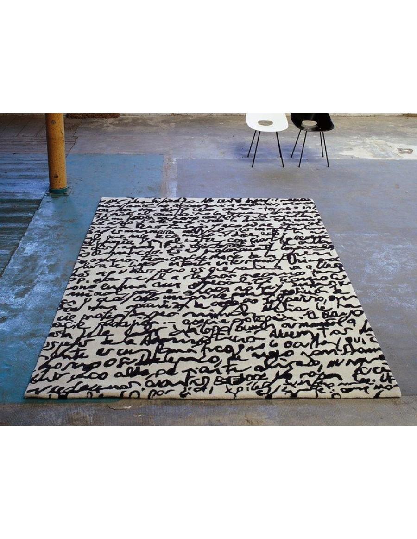 volnena preproga, ročno izdelana (taftana) - Black on white - Manuscrit by Nanimarquina
