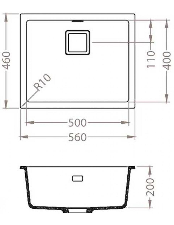 Alveus Quadrix 50 Granital Plus, vsadno/vgradno korito - dimenzije