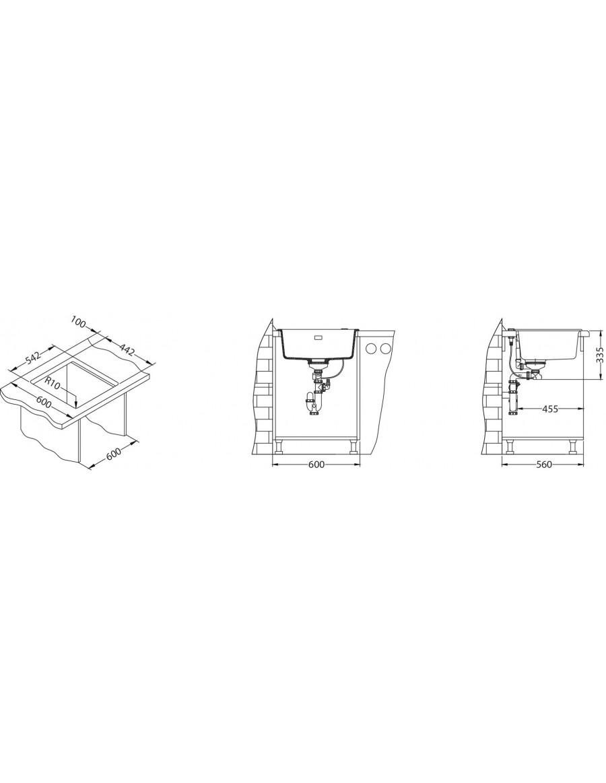 Alveus Quadrix 50 Granital Plus, vsadno korito - vgradna skica