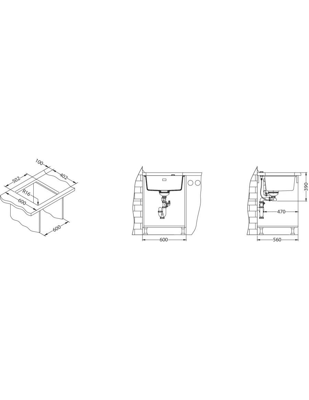 Alveus Quadrix 50 Granital Plus, podpultno korito - vgradna skica