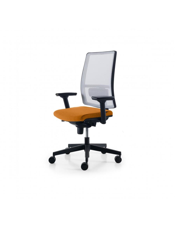 Sugar Net operativni pisarniški stol, Quinti Sedute | Bela mreža, tapecirano volneno sedišče