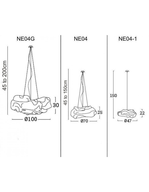 Nevo viseča svetilka - velikosti