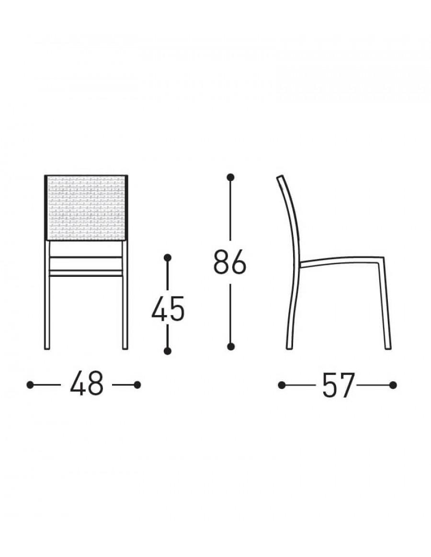 Victor vrtni stol, Varascin - dimenzije